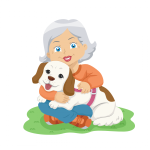Cartoon image of lady hugging her dog to emphasize that reassuring your dog will help them feel better.